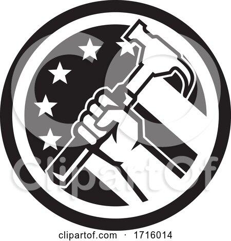 Carpenter Hand Holding Hammer USA Flag Circle Retro Icon Black and White Posters, Art Prints