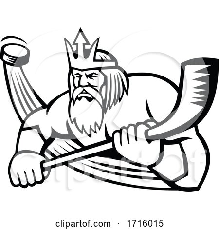 Hockey Sports Mascot of Poseidon Holding a Stick Posters, Art Prints