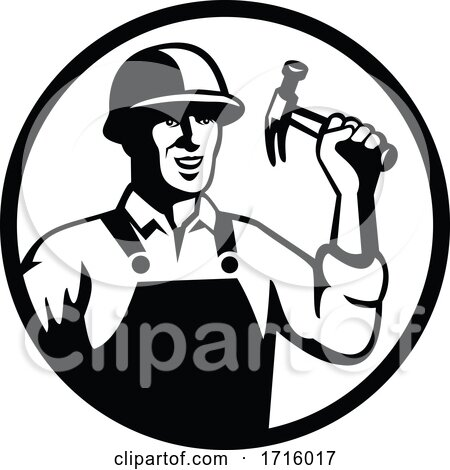 Carpenter Construction Worker Holding Hammer Circle Black and White Posters, Art Prints
