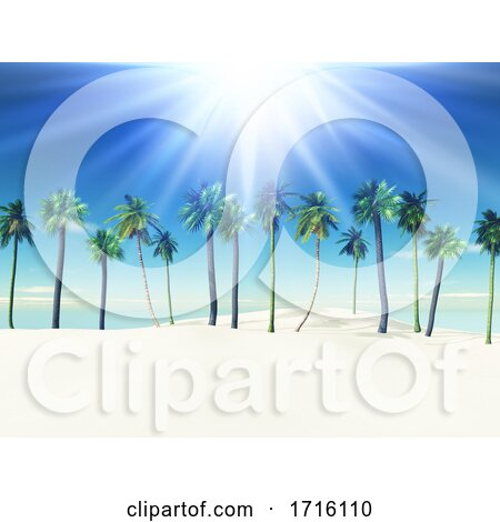 3D Summer Landscape with Palm Trees on Sandy Beach by KJ Pargeter