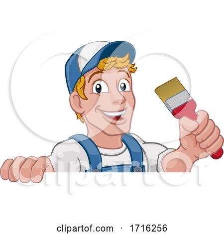 Painter Decorator Paintbrush Handyman Cartoon Man Posters, Art Prints