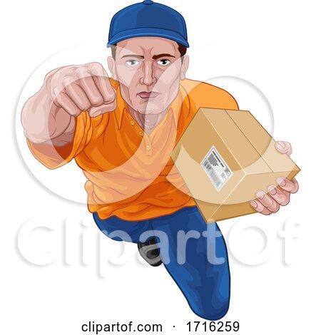 Delivery Superhero Delivering Package Parcel by AtStockIllustration