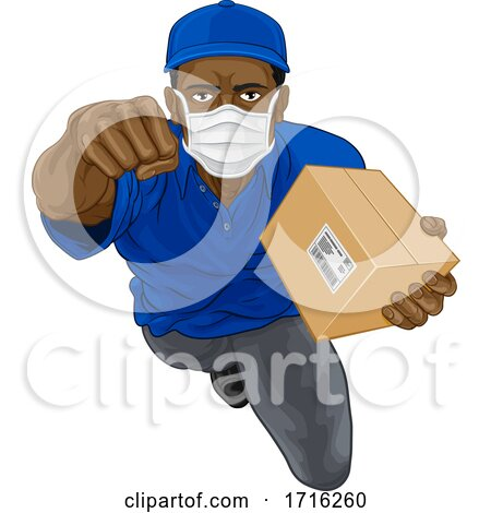Delivery Superhero Courier Delivering Package Box by AtStockIllustration