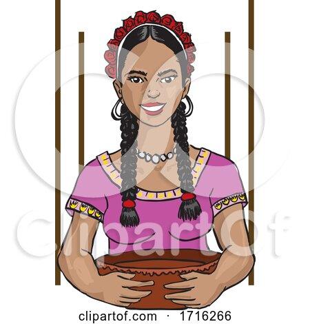 Mexican Woman Cook Antojito Corazon by David Rey