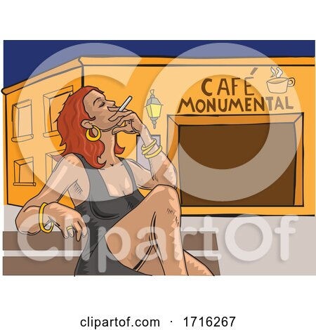 Woman Smoking Outside Cafe Monumental by David Rey