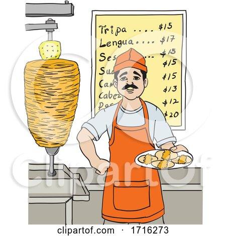 Taquero Man in Front of a Menu by David Rey