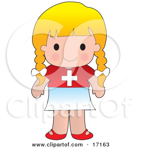 Cute Blond Swiss Girl Wearing A Flag Of Switzerland Shirt Clipart Illustration by Maria Bell