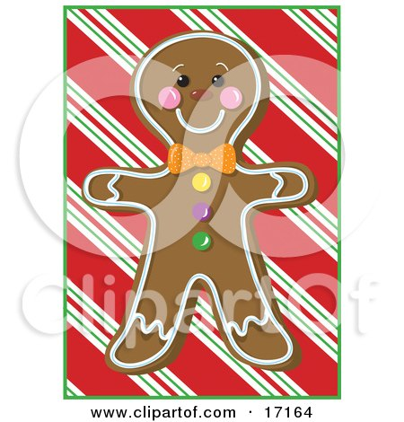 Happy Gingerbread Man Cookie With A Smiling Face Over a Red Striped Background Clipart Illustration by Maria Bell