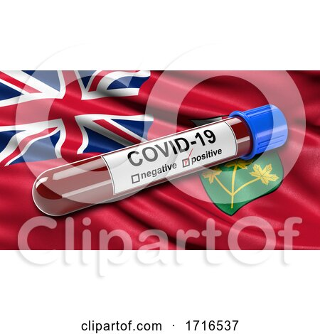 Flag of Ontario Waving in the Wind with a Positive Covid 19 Blood Test Tube by stockillustrations