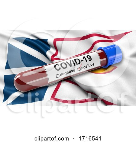 Flag of Newfoundland and Labrador Waving in the Wind with a Positive Covid 19 Blood Test Tube by stockillustrations