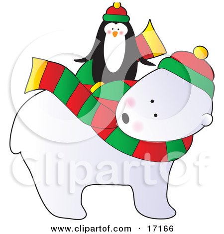 Cute Penguin Wearing A Hat, Riding On The Back Of A Polar Bear That Is Wearing A Scarf And Hat On Christmas Clipart Illustration by Maria Bell