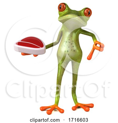 3d Green Springer Frog, on a White Background Posters, Art Prints