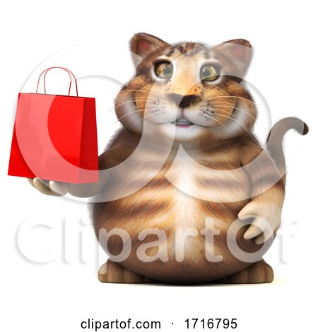 3d Tabby Kitty Cat, on a White Background by Julos