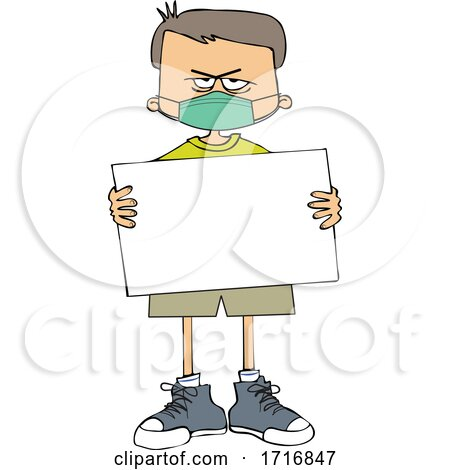 Cartoon Angry Boy Wearing a Sign and Holding a Mask by djart
