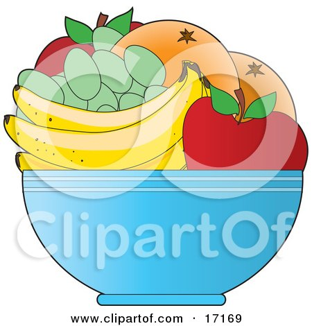Bowl Of Fresh Fruit Including Red Apples, Green Grapes, Bananas And Oranges Or Grapefruit Clipart Illustration by Maria Bell
