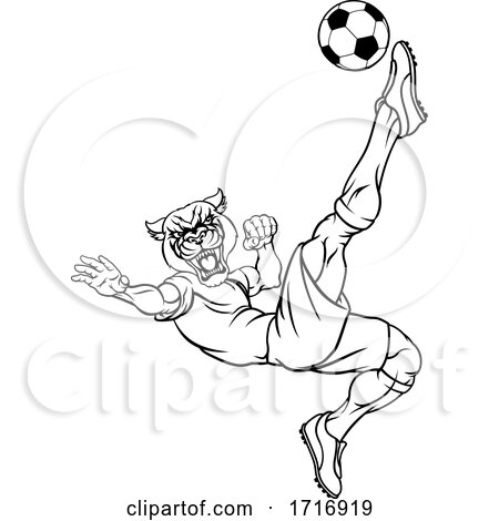 Panther Soccer Football Player Sports Mascot by AtStockIllustration