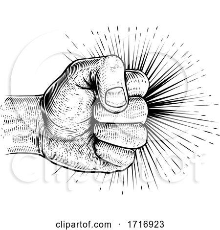 Fist Punching Vintage Propaganda Woodcut Style by AtStockIllustration