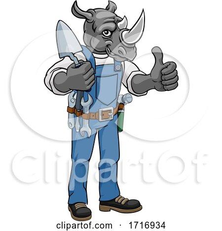 Rhino Bricklayer Builder Holding Trowel Tool Posters, Art Prints
