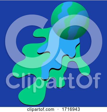 Blue and Green Ball on Color Splash by elaineitalia