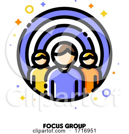 Icon of Three Persons on a Background of Shooting Target for Focus Group or Market Research Concept by elena