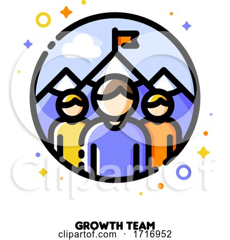 Icon of Three Persons on a Background of Mountain Peak for Business Development or Growth Team Concept by elena