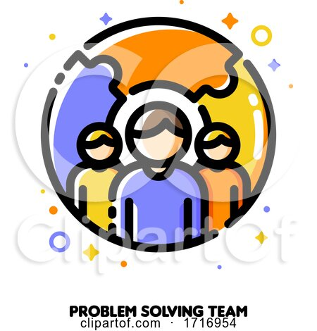 Icon of Three Persons on a Background of Puzzle for Problem Solving or Crisis Management Team Concept by elena
