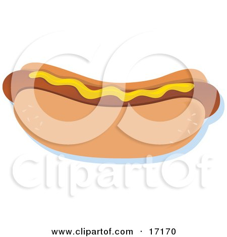 Hot Dog on a Bun, Topped With Mustard Clipart Illustration by Maria Bell