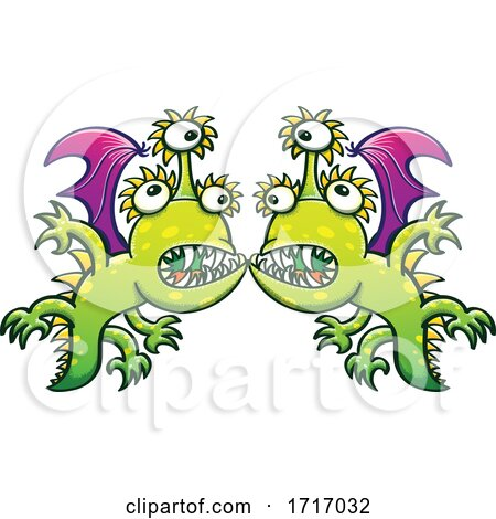 Cartoon Three Eyed Dragons in a Face to Face Confrontation by Zooco