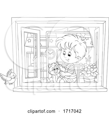 Boy and Cat Sitting by a Window Black and White by Alex Bannykh