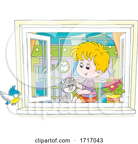 Boy and Cat Sitting by a Window by Alex Bannykh
