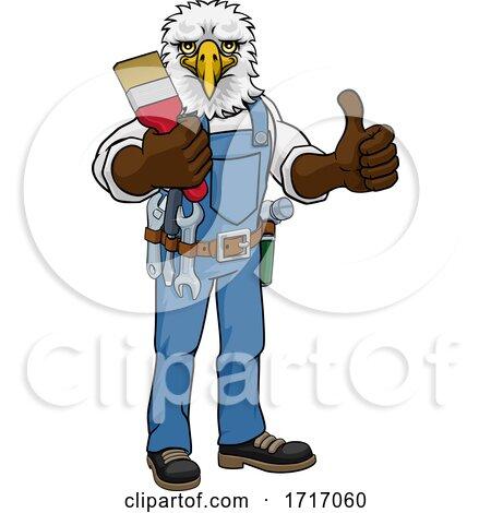 Eagle Painter Decorator Holding Paintbrush Posters, Art Prints