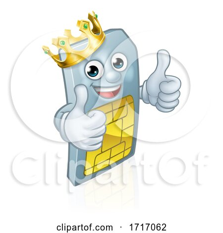 Sim Card Mobile Phone King Thumbs up Mascot by AtStockIllustration