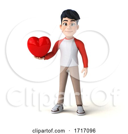 3d Asian Boy, on a White Background Posters, Art Prints