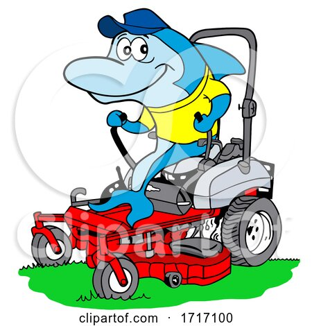 Cartoon Blue Shark Mowing Grass by LaffToon