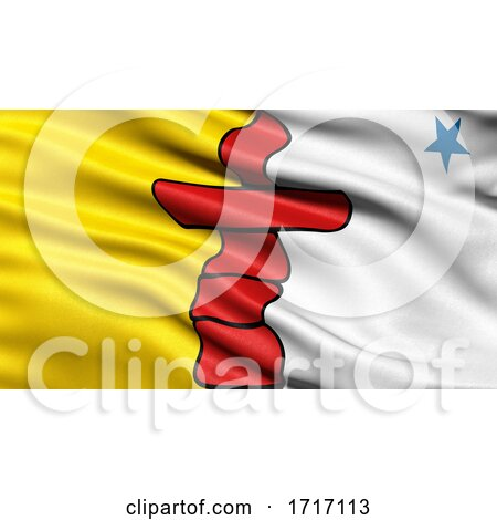 Flag of Nunavut Waving in the Wind by stockillustrations