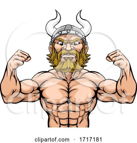Viking Barbarian Mascot Muscle Strong Cartoon by AtStockIllustration