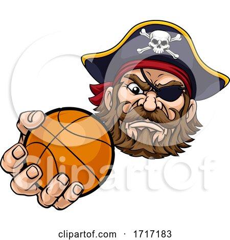 Pirate Basketball Ball Sports Mascot Cartoon by AtStockIllustration