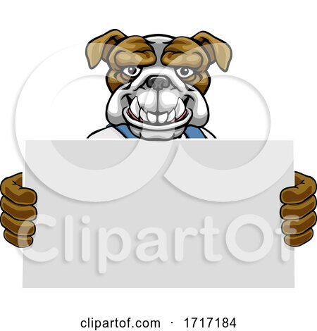 Bulldog Cartoon Mascot Handyman Holding Sign by AtStockIllustration