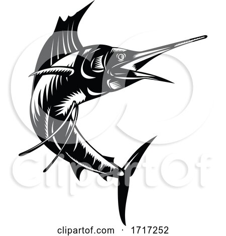Atlantic Sailfish Jumping up Viewed from Side Woodcut Retro Black and White by patrimonio