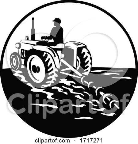 Farmer Driving a Vintage Tractor Viewed from Rear Circle Retro Black and White Posters, Art Prints