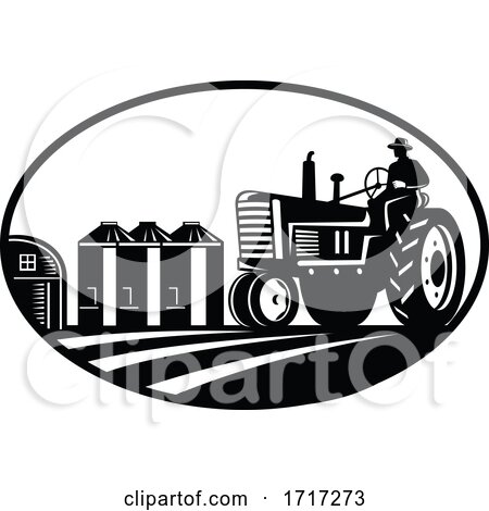 Farmer Driving Vintage Tractor with Barn and Silo Oval Retro Woodcut Black and White by patrimonio