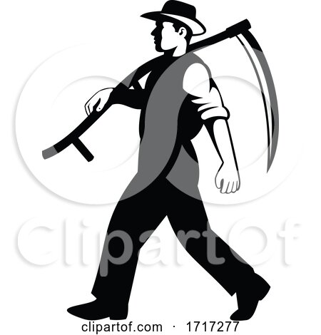 Organic Farmer Walking with Scythe Viewed from Side Retro Black and White by patrimonio