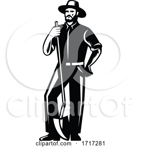 Organic Farmer with Spade Viewed from Front Retro Woodcut Black and White by patrimonio