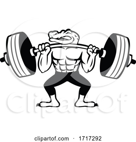 Alligator Weightlifter Lifting Heavy Barbell Mascot Black and White by patrimonio