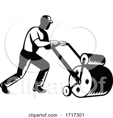 Gardener Landscaper Groundsman or Groundskeeper Pushing Lawn Roller Woodcut Black and White Posters, Art Prints