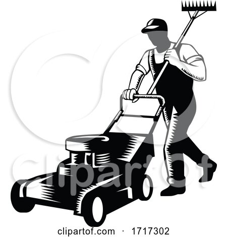 Gardener Landscaper Groundsman or Groundskeeper Pushing Lawn Mower Woodcut Black and White Posters, Art Prints