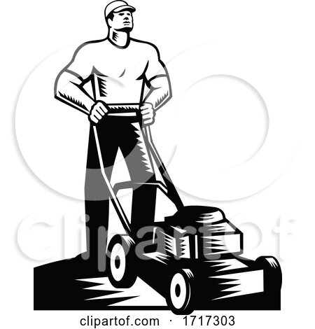Gardener or Groundskeeper with Lawn Mower Mowing Woodcut Retro Posters, Art Prints