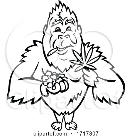 Gorilla Holding Blueberry and Cannabis Leaf Cartoon Mascot Black and White Posters, Art Prints