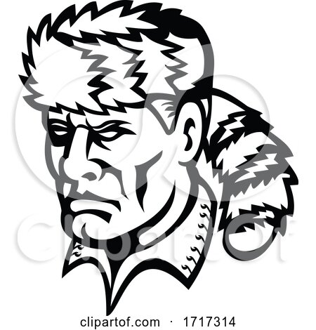 American Folk Hero and Frontiersman Davy Crockett Mascot Black and White by patrimonio
