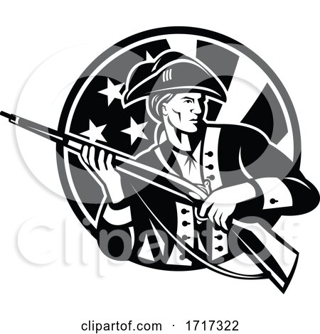 American Revolutionary Soldier with Rifle and USA Flag Circle Retro Black and White by patrimonio